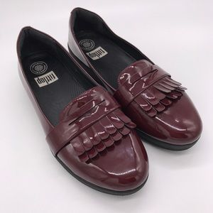 FITFLOP Patent Leather Sneaker Loafers Red